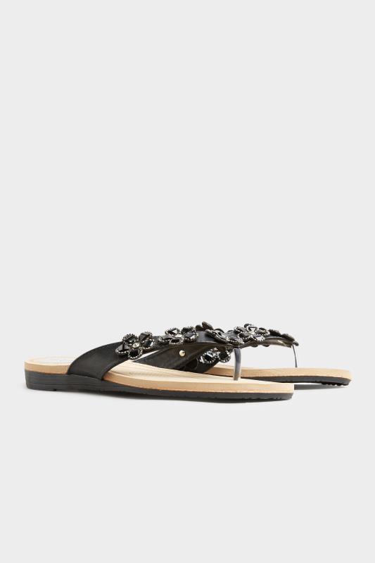 Black Flower Gem Sandals in Regular Fit_B.jpg