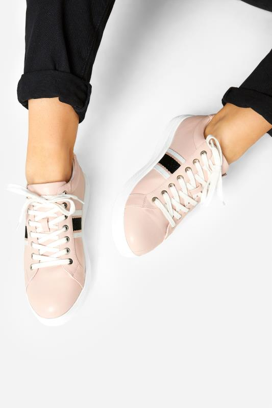 Pink Vegan Faux Leather Stripe Trainers In Extra Wide Fit