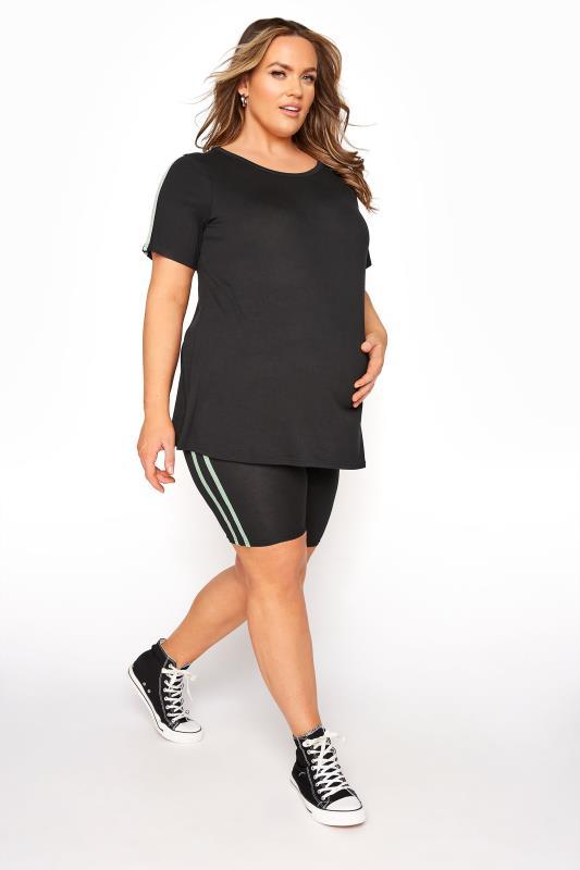 BUMP IT UP MATERNITY Black Stripe T-shirt & Shorts Set_B.jpg
