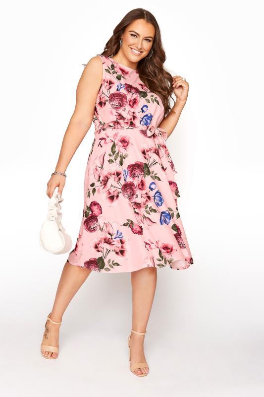 YOURS LONDON Pink Floral Skater Dress_B.jpg
