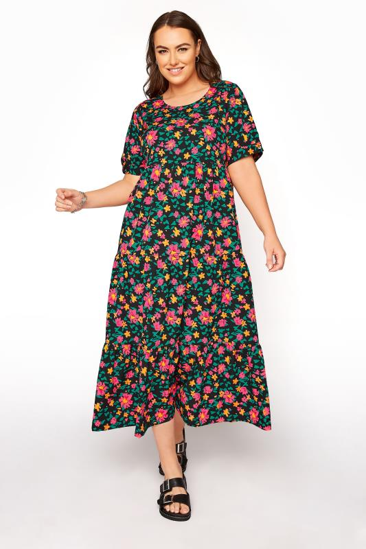 Plus Size  LIMITED COLLECTION Black Floral Tiered Maxi Dress