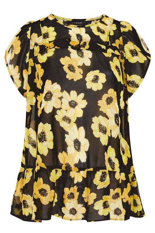 Black and Yellow Floral Frill Hem Tunic_F.jpg
