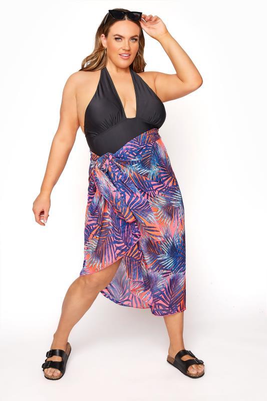 Plus Size  Purple Neon Palm Print Sarong