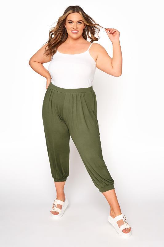 Plus Size  Khaki Jersey Harem Cropped Trousers