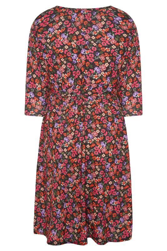 YOURS LONDON Black Ditsy Print Wrap Midi Dress_BK.jpg
