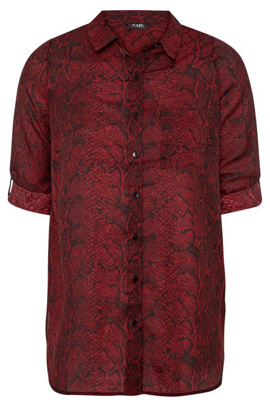 Wine Red Snake Print Boyfriend Shirt