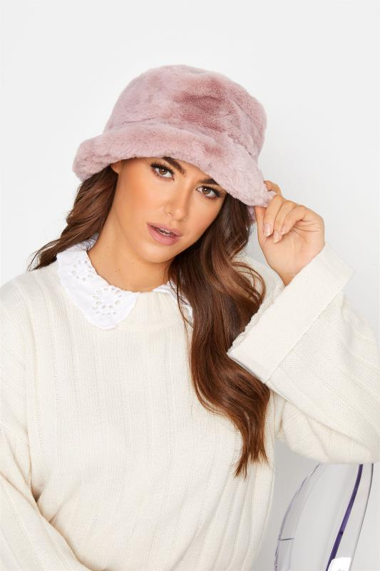 Tall  Yours Pink Faux Fur Bucket Hat