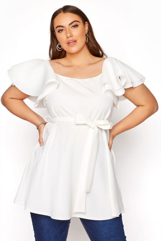 YOURS LONDON White Frill Statement Sleeve Peplum Top_A.jpg