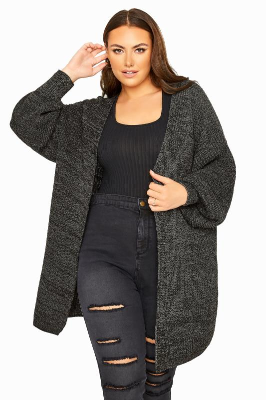 Charcoal Grey Oversized Balloon Sleeve Knitted Cardigan