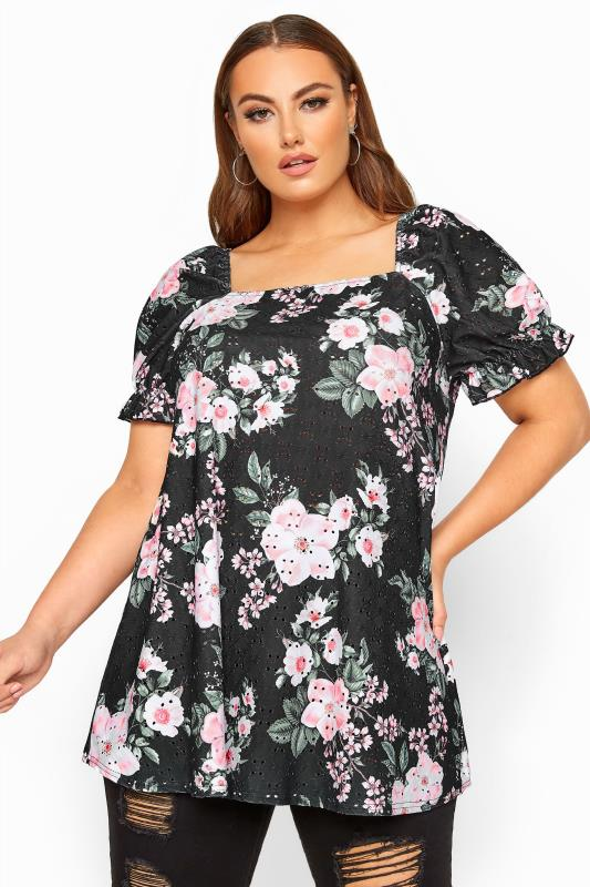 Plus Size Floral Tops LIMITED COLLECTION Black Floral Broderie Anglaise Top