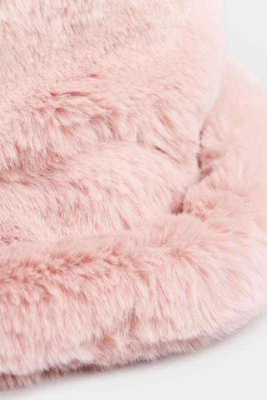 Pink Vegan Fur Bucket Hat