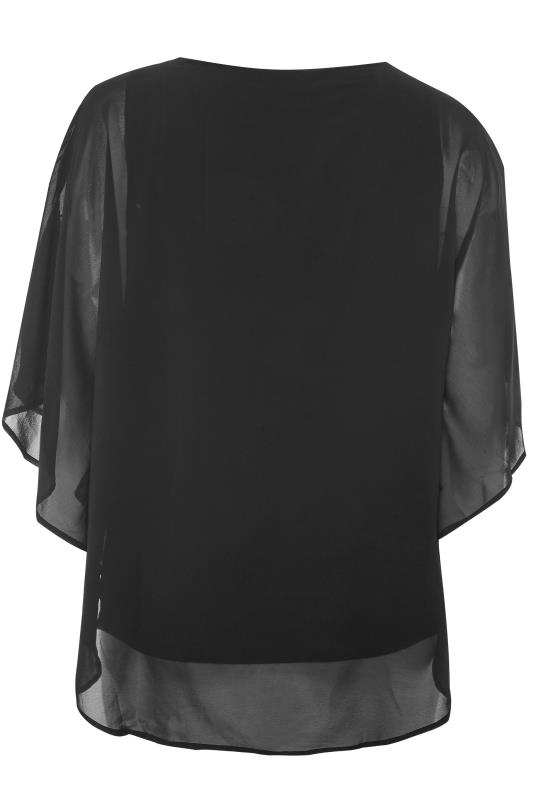 YOURS LONDON Black Chiffon Sequin Embellished Cape Top