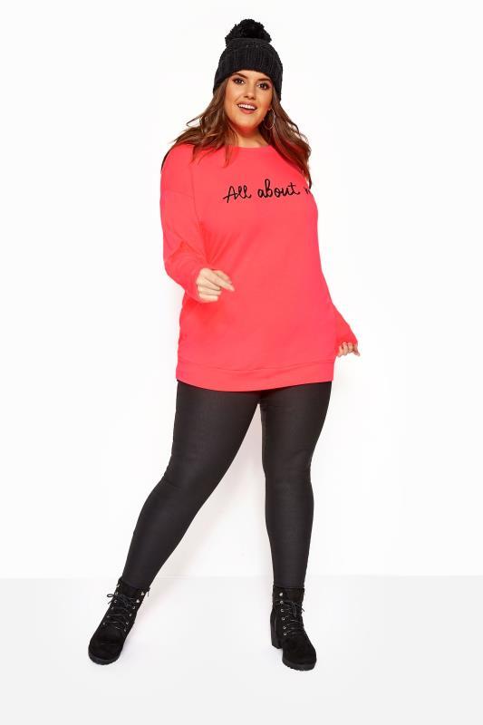 Neon Pink 'All About Me' Slogan Sweatshirt
