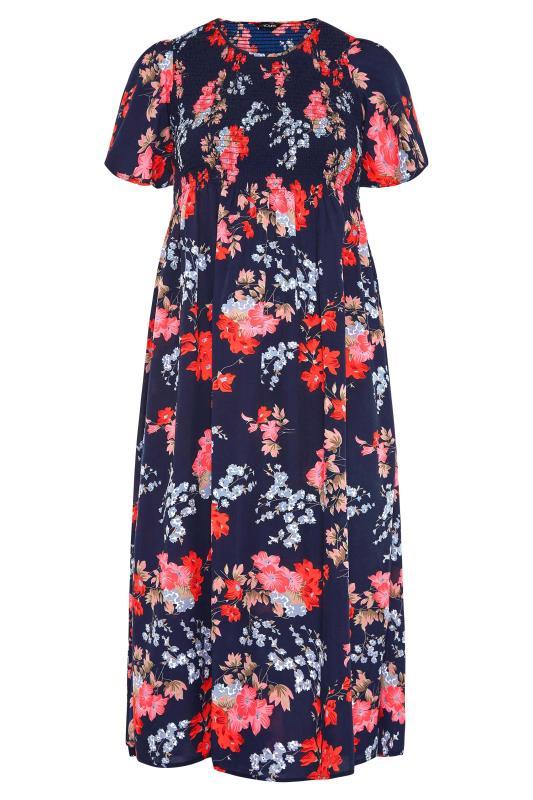 Blue Floral Shirred Maxi Dress_F.jpg