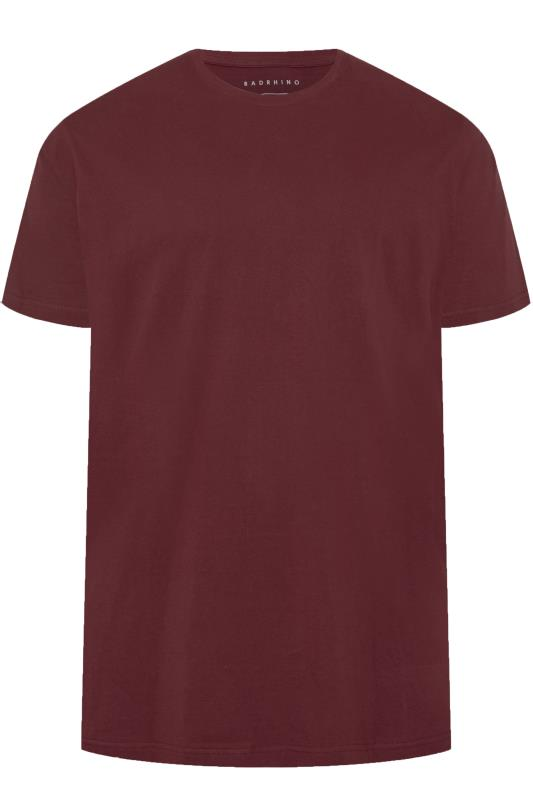 Plus Size Casual / Every Day BadRhino Burgundy Embroidered Logo T-Shirt
