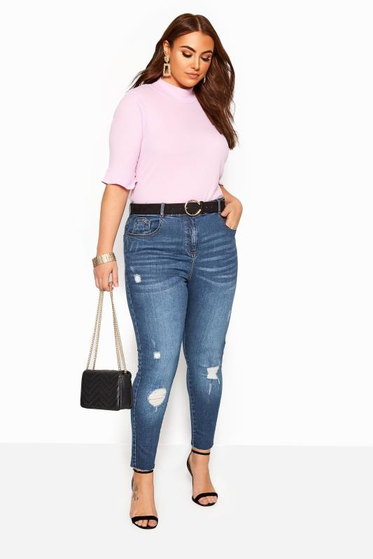 Plus Size Skinny Jeans Mid Blue Washed Skinny Stretch Ripped AVA Jeans