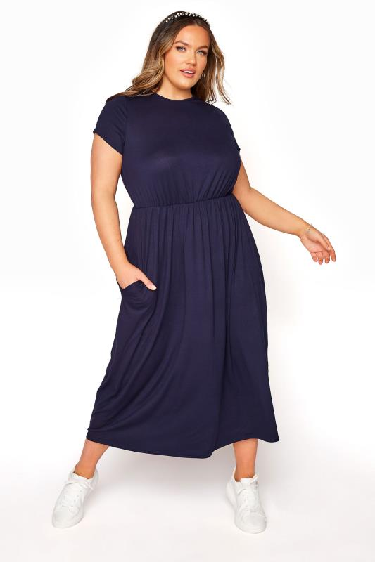 Plus Size  YOURS LONDON Navy Pocket Maxi Dress