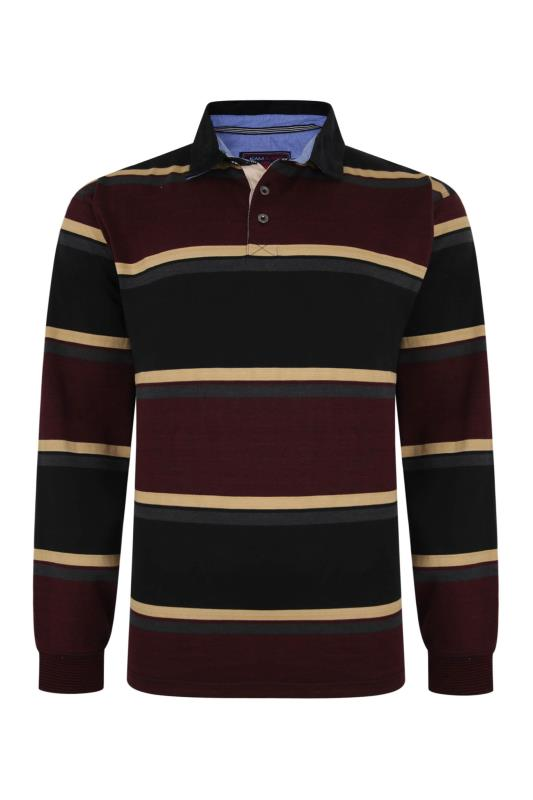 Plus Size  KAM Black Stripe Long Sleeve Rugby Polo