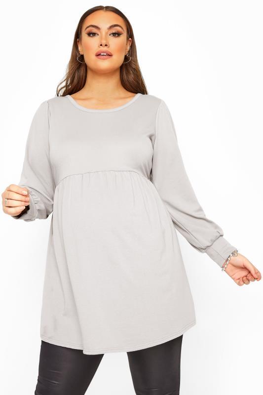 Plus Size  BUMP IT UP MATERNITY Grey Peplum Sweatshirt