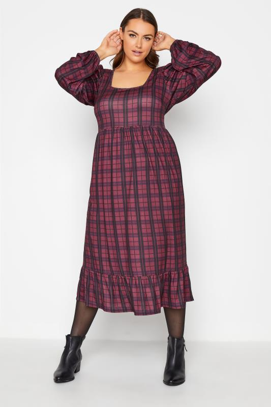 Plus Size  YOURS LONDON Red Check Smock Midi Dress