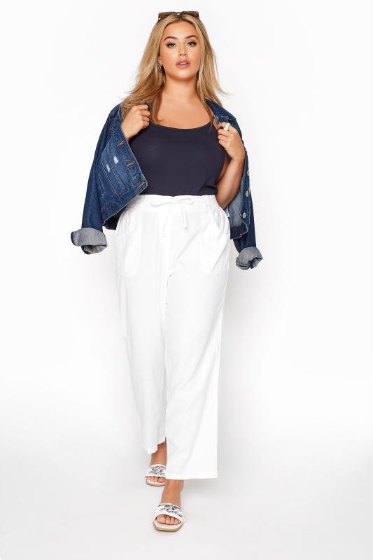 Großen Größen Linen Mix Trousers White Linen Mix Wide Leg Trousers