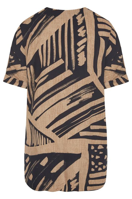 Mocha Brown Abstract V-Neck Pleated Front Shirt_BK.jpg