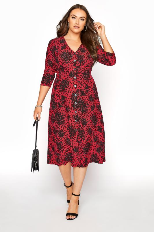 YOURS LONDON Red Ditsy Button Dress_B.jpg