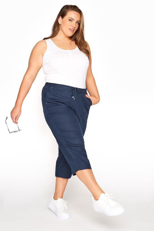 Plus Size  Navy Cropped Linen Mix Trousers