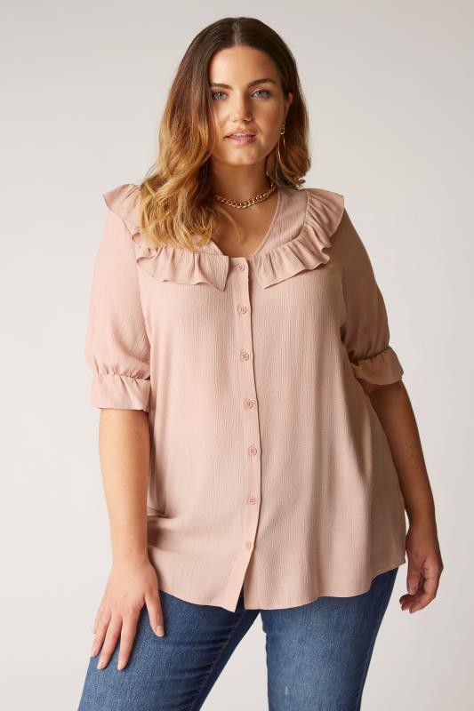 Plus Size  THE LIMITED EDIT Beige Button Frill Blouse