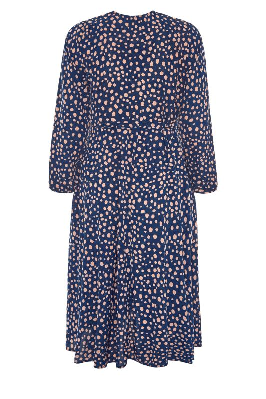 YOURS LONDON Navy Dalmatian Print Wrap Dress_BK.jpg