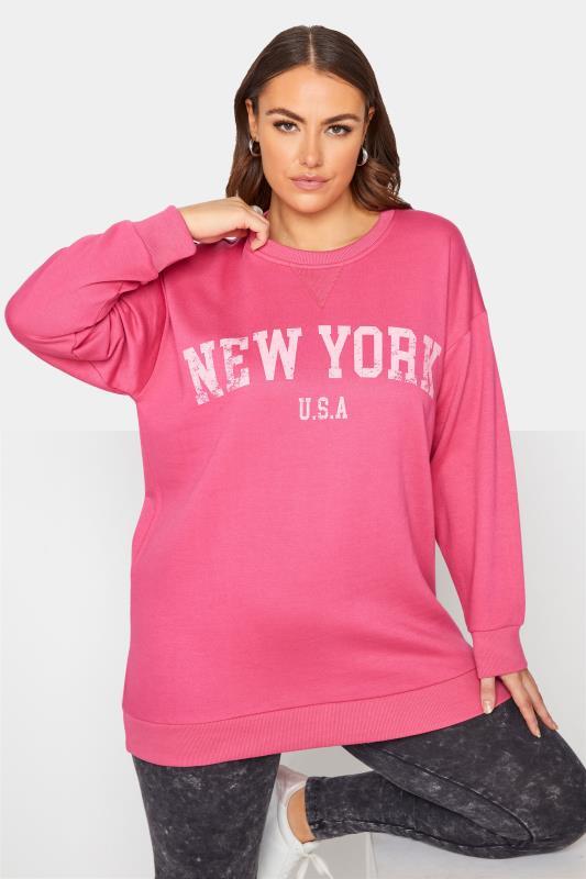 Plus Size  Pink 'New York' Slogan Sweatshirt
