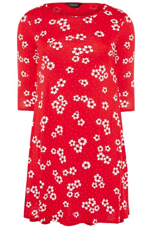 Red Floral Spotted Swing Dress