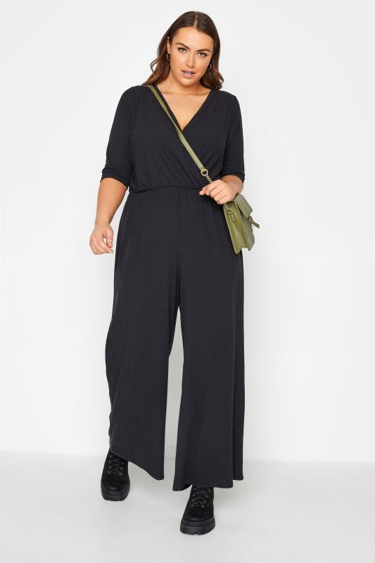 Plus Size  LIMITED COLLECTION Black Ribbed Wrap Jumpsuit