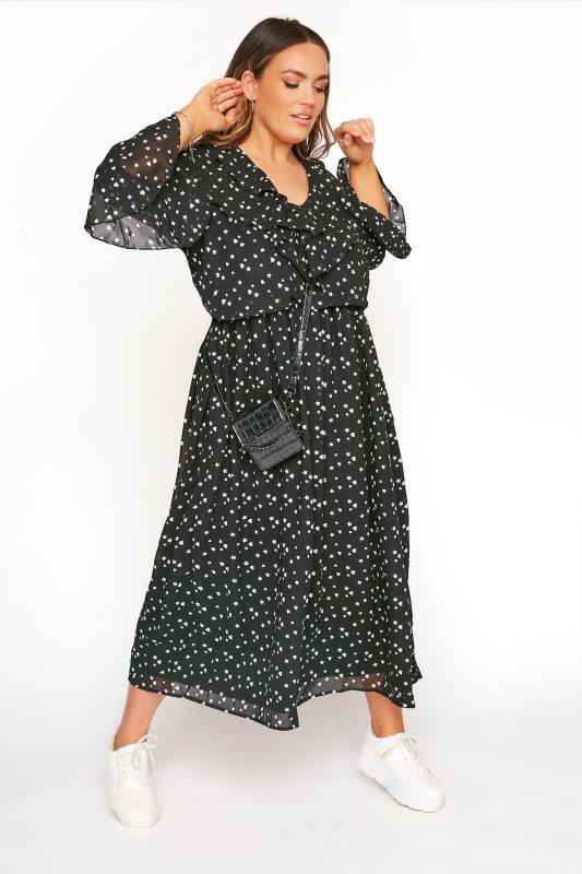 LIMITED COLLECTION Black Chiffon Star & Heart Frill Midi Dress