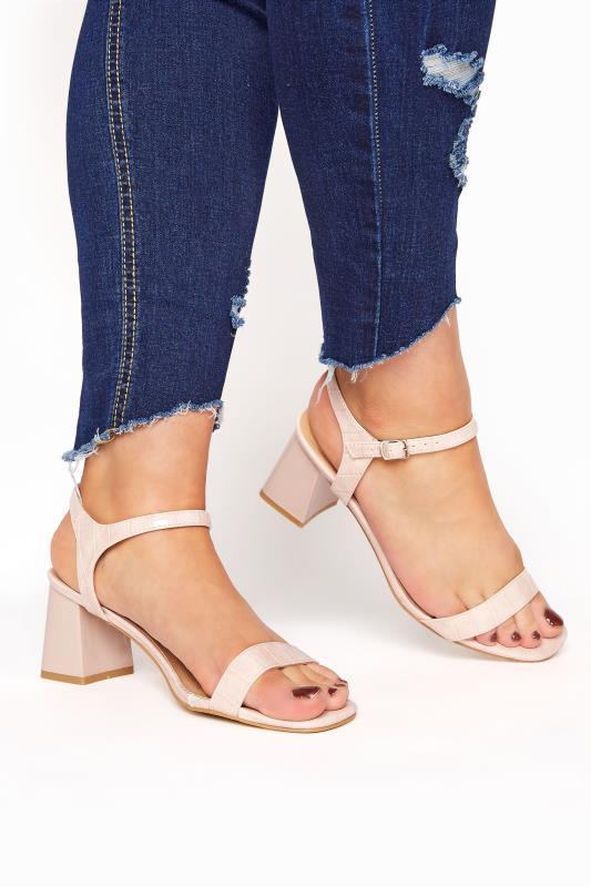 Yours Pink Croc Block Heel Sandals In Extra Wide Fit