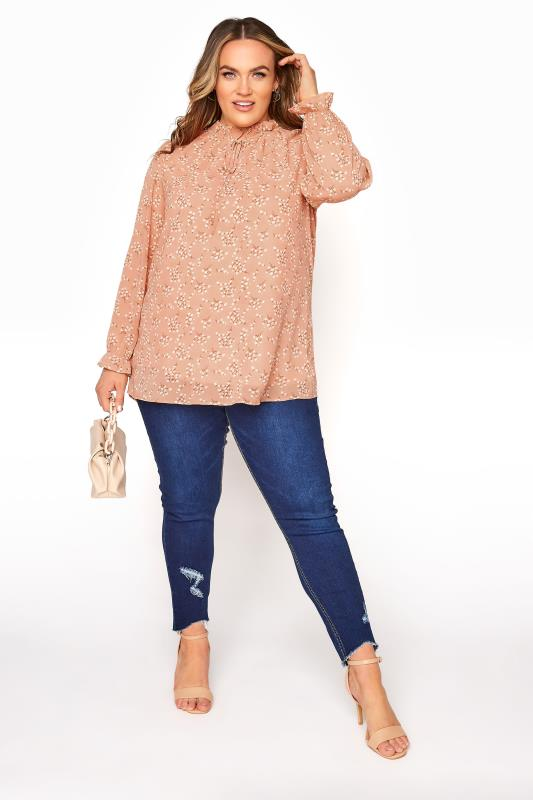 YOURS LONDON Pink Floral Ruffle Collar Blouse_B.jpg