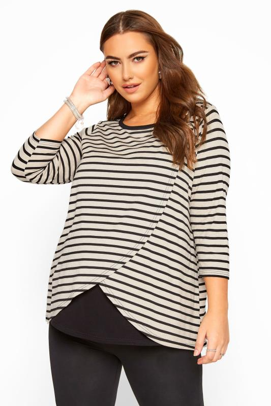 Plus-Größen Maternity Tops & T-Shirts BUMP IT UP MATERNITY Stone & Black Stripe Nursing Top
