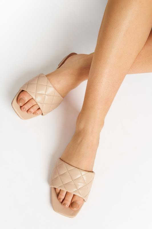 Tall  LTS Nude Quilted Square Flat Mule