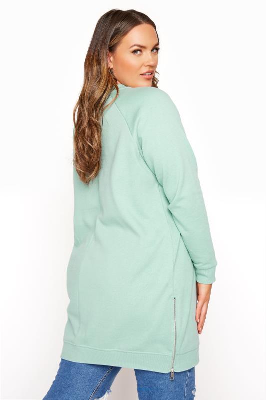 Super Soft Hand Feel Green Side Zip Sweatshirt_C.jpg