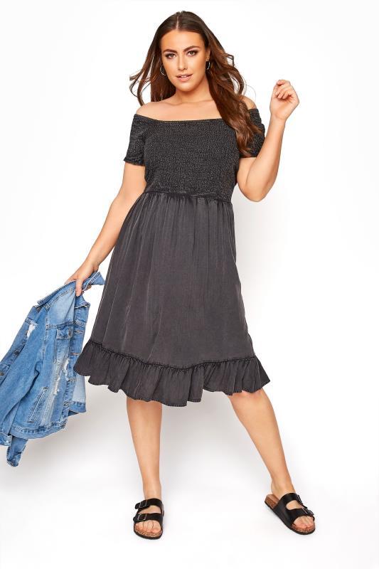 Plus Size  Black Acid Wash Bardot Dress