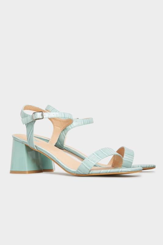 LIMITED COLLECTION Mint Green Block Heel Croc Sandals In Extra Wide Fit_B.jpg