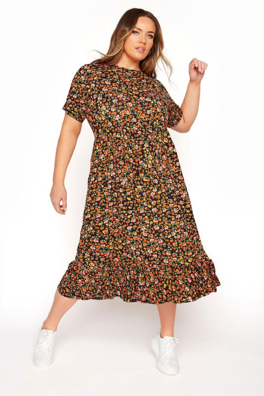 LIMITED COLLECTION Bright Floral Tiered Midaxi Smock Dress