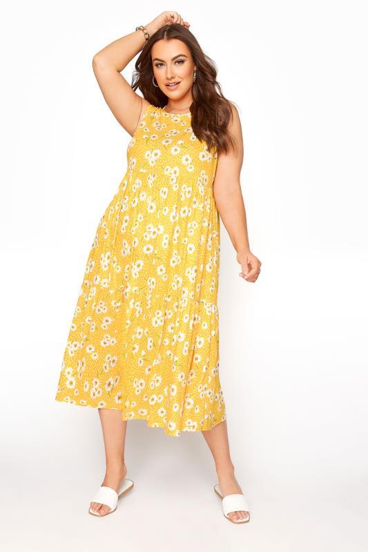 Plus Size  Yellow Sleeveless Daisy Midaxi Dress