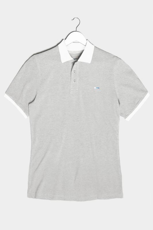 Men's  BadRhino Grey & White Contrast Polo Shirt