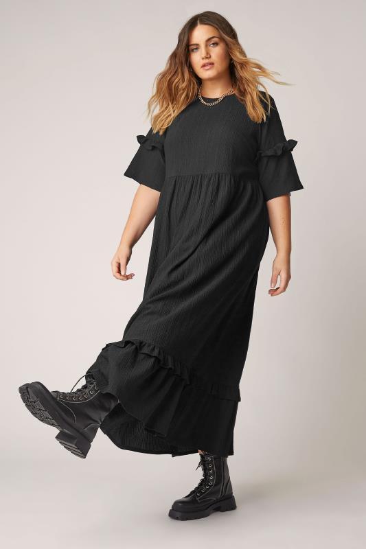 THE LIMITED EDIT Black Smock Midaxi Dress_B.jpg