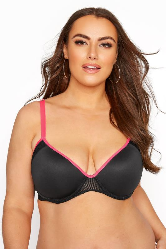 Plus Size  Black Padded Contrast Trim Sports Bra