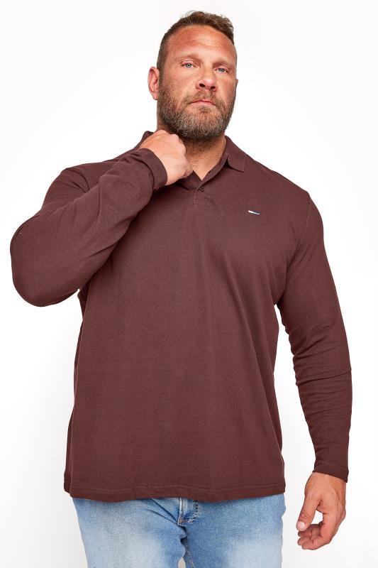 Men's  BadRhino Burgundy Essential Long Sleeve Polo Shirt