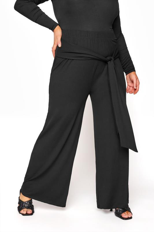 YOURS LONDON Black Wide Leg Belted Trousers