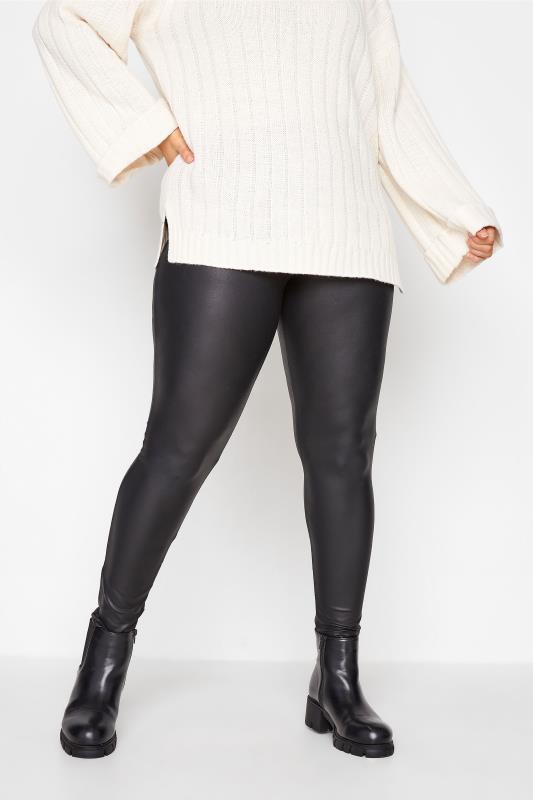 Plus Size Fashion Leggings Black Leather Look Leggings
