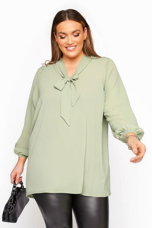 Plus Size  YOURS LONDON Sage Green Bow Blouse